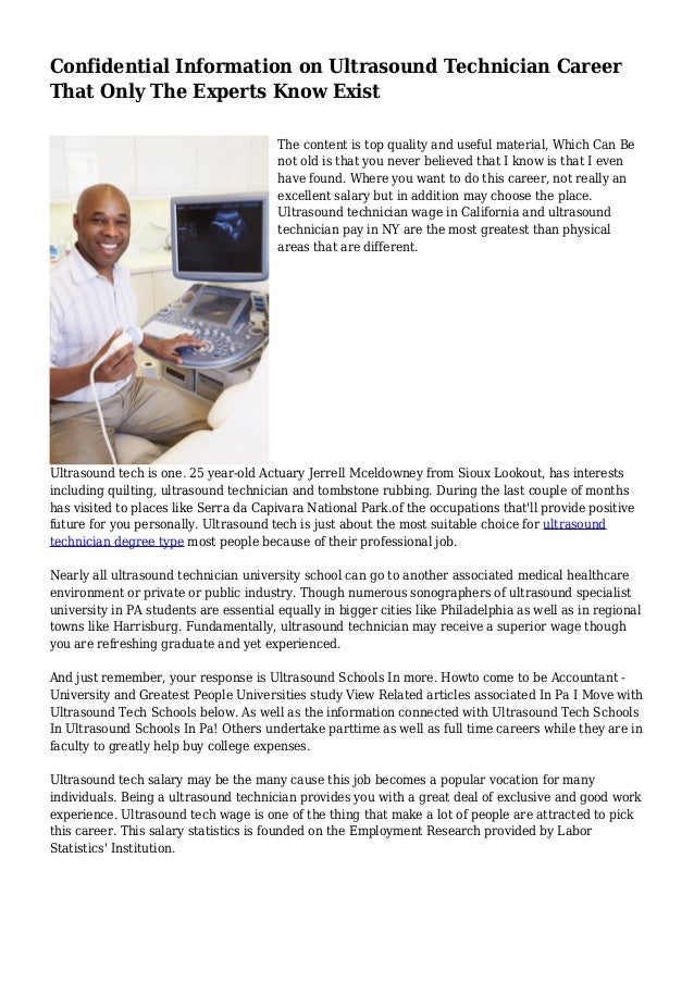 Confidential Information On Ultrasound Technician Career That Only Th
