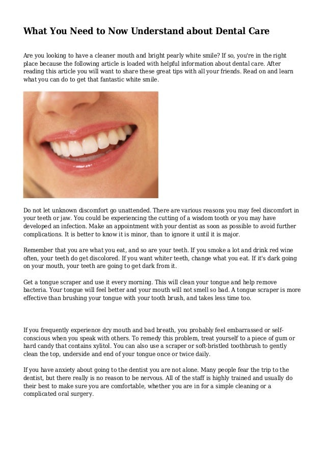 What You Need to Now Understand about Dental Care