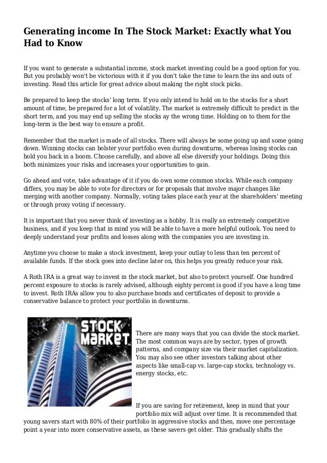 Generating Income In The Stock Market Exactly What You Had To Know