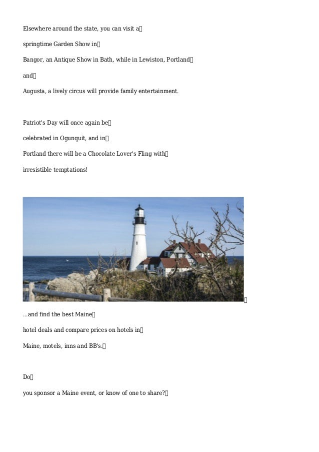 Apr 10, Activities and Events in Maine April 2015 Slide 2