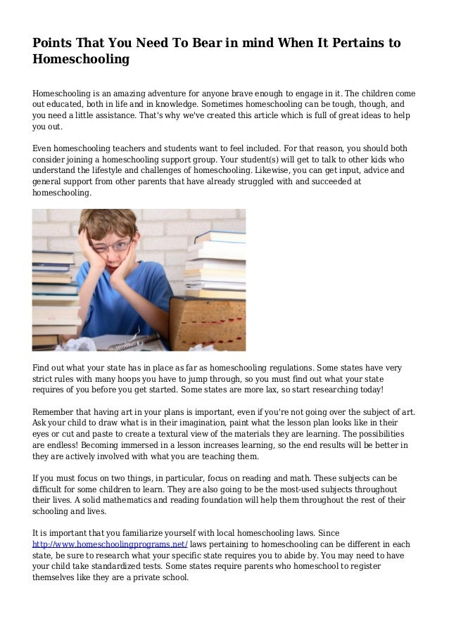 eecde2896c Points That You Need To Bear in mind When It Pertains to Homeschooling  Homeschooling is an ...