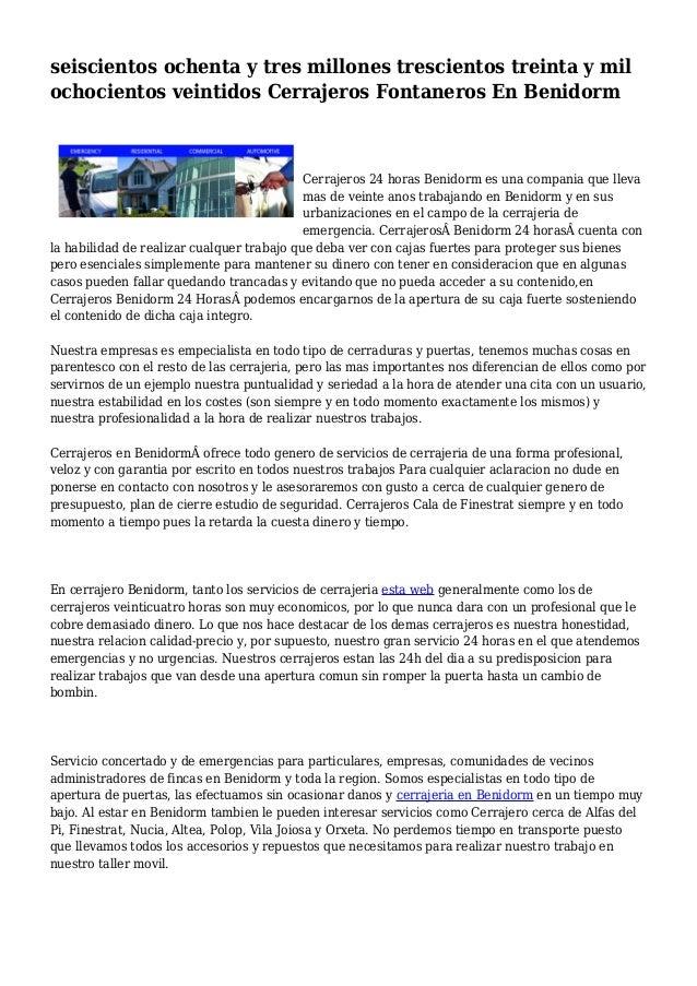 seiscientos ochenta y tres millones trescientos treinta y mil ochocientos veintidos Cerrajeros Fontaneros En Benidorm Cerr...