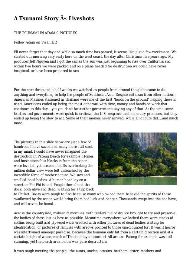 TSUNAMI SURVIVOR STORIES