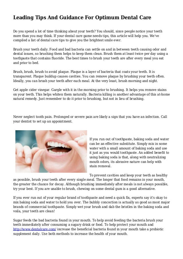 Leading Tips And Guidance For Optimum Dental Care