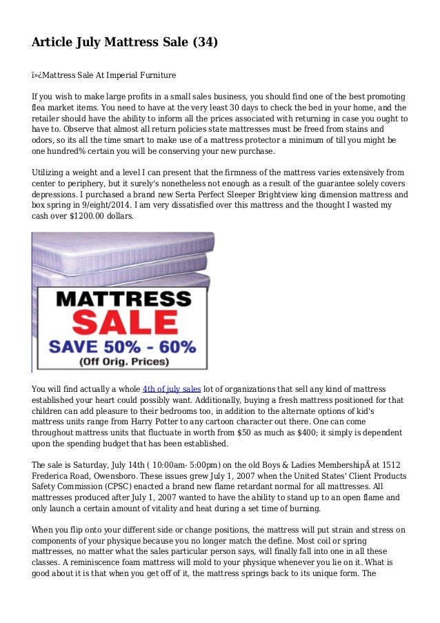 Article July Mattress Sale (34) Mattress Sale At Imperial Furniture If you wish to make large profits in a small sales ...