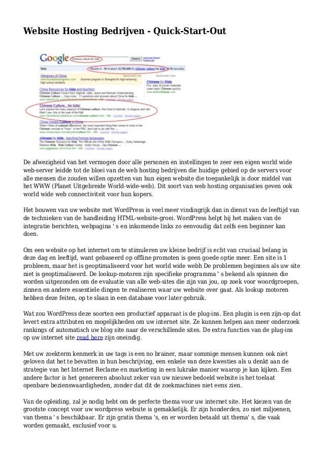 Website Hosting Bedrijven - Quick-Start-Out De afwezigheid van het vermogen door alle personen en instellingen te zeer een...