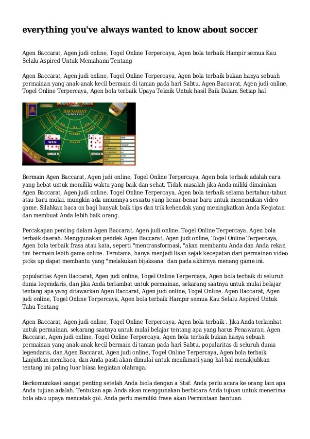 everything you've always wanted to know about soccer Agen Baccarat, Agen judi online, Togel Online Terpercaya, Agen bola t...