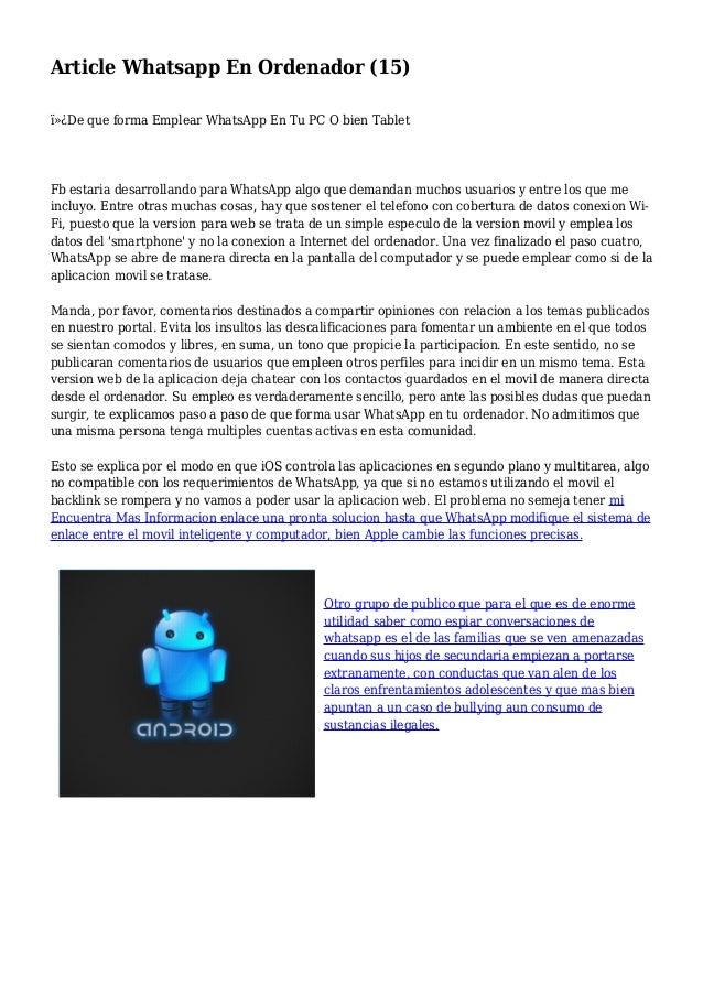 Article Whatsapp En Ordenador (15) De que forma Emplear WhatsApp En Tu PC O bien Tablet Fb estaria desarrollando para W...