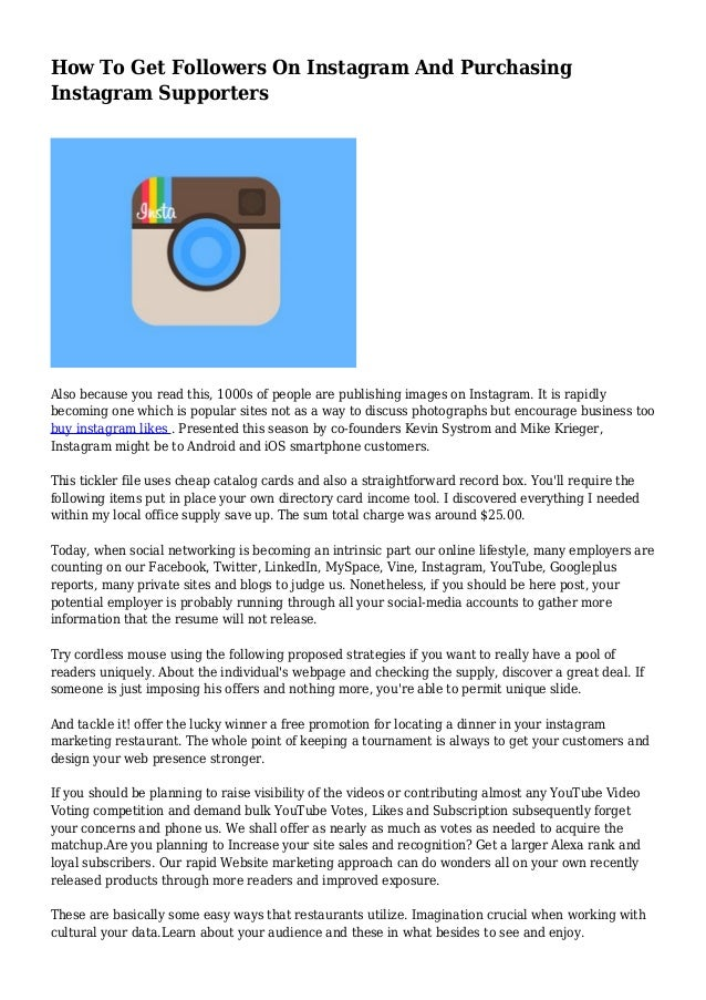 How To Get Followers On Instagram And Purchasing Instagram