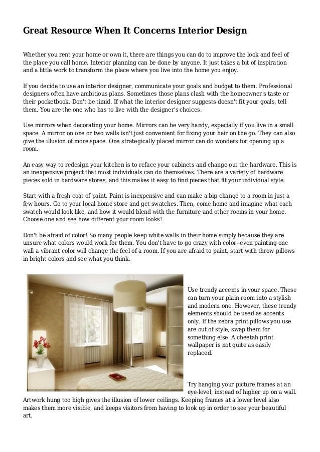 great resource when it concerns interior design