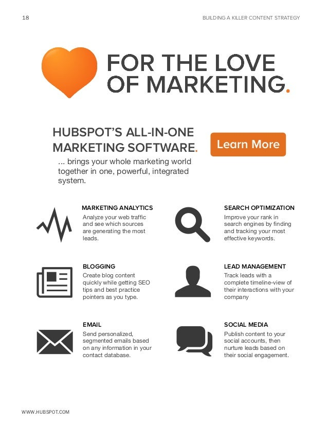 18  BUILDING A KILLER CONTENT STRATEGY  HubSpot's All-in-One Marketing Software.  Learn More  ... brings your whole market...