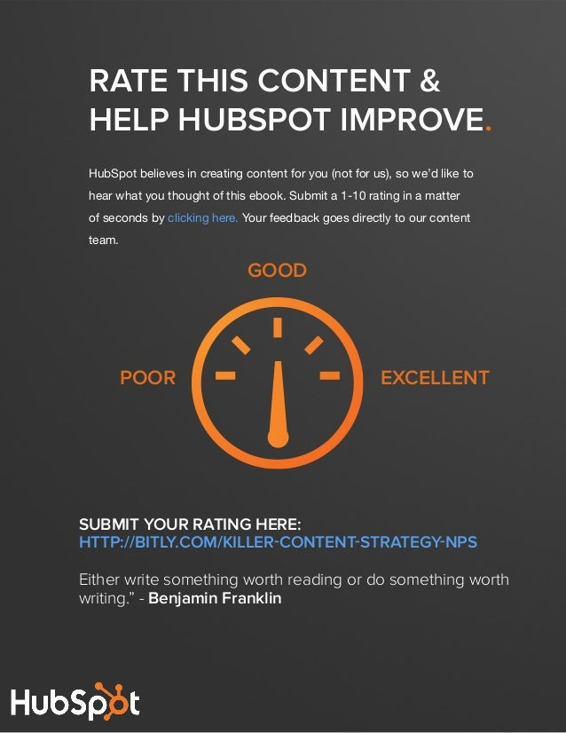 19  BUILDING A KILLER CONTENT STRATEGY  Rate this content & help hubspot Improve. HubSpot believes in creating content for...