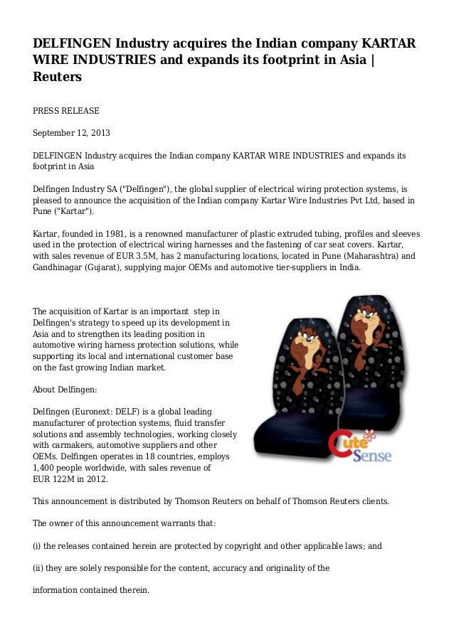 DELFINGEN Industry acquires the Indian company KARTAR WIRE