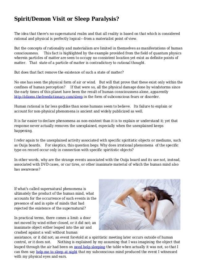 Spirit/Demon Visit or Sleep Paralysis?