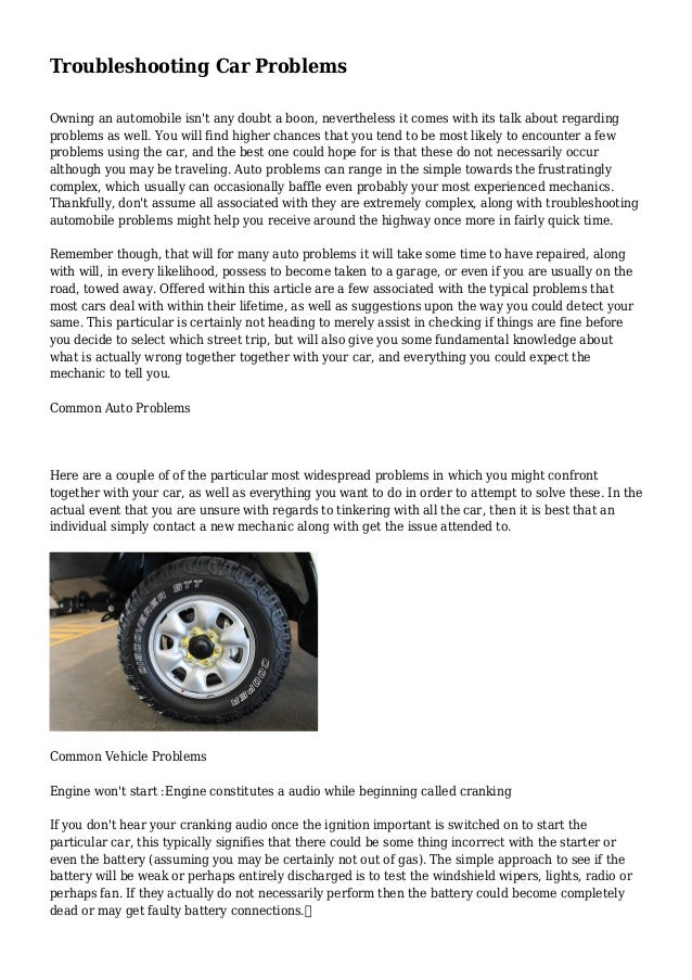 trouble shooting auto problems
