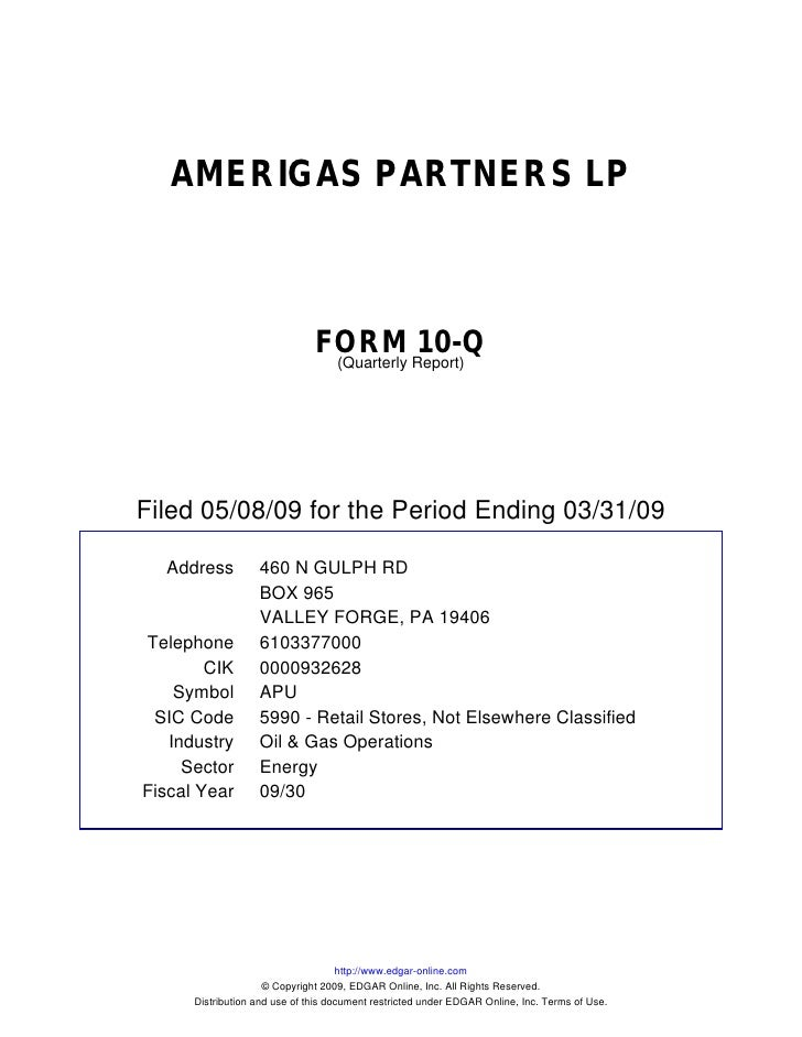 Q1 2009 Earning Report Of Amerigas Partners