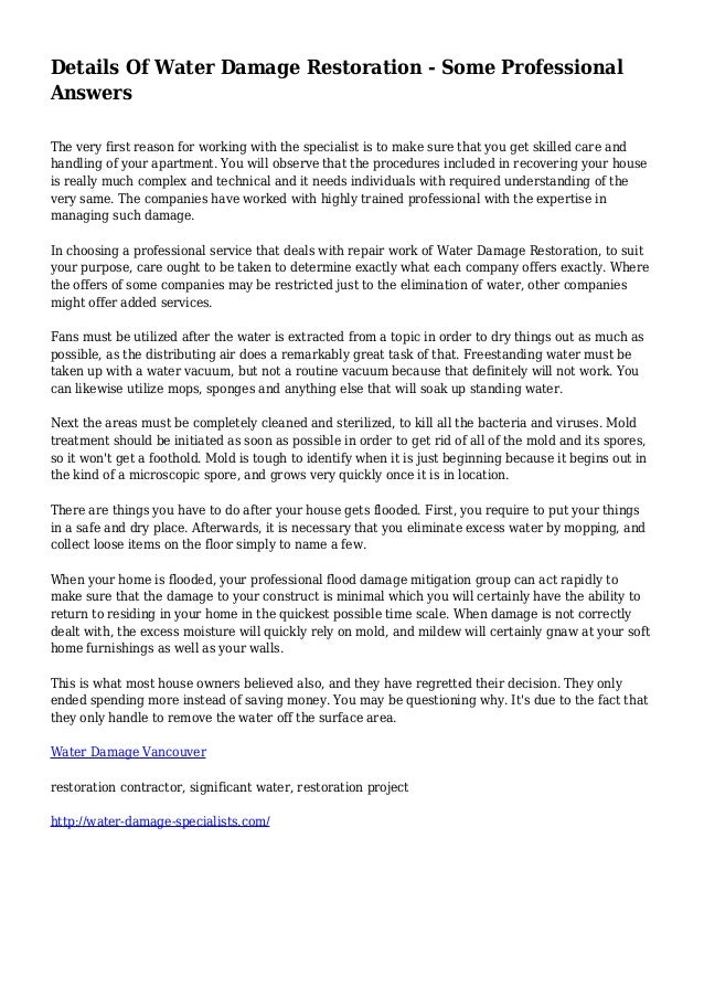 Details Of Water Damage Restoration - Some Professional