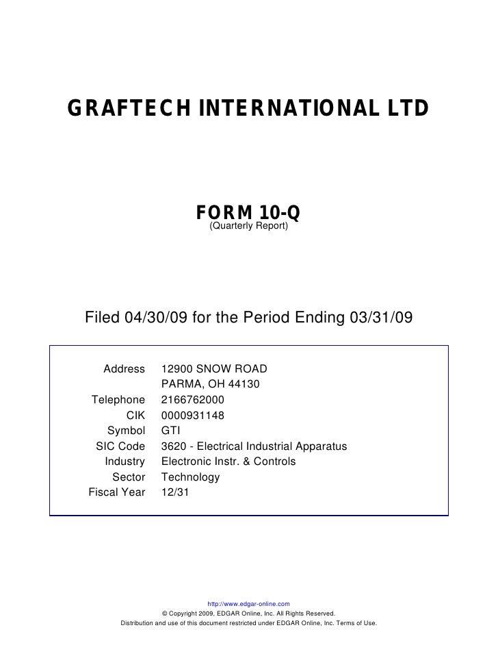 GRAFTECH INTERNATIONAL LTD                                    FORM Report)10-Q                                  (Quarterly...