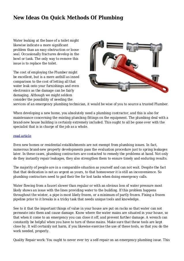 New Ideas On Quick Methods Of Plumbing