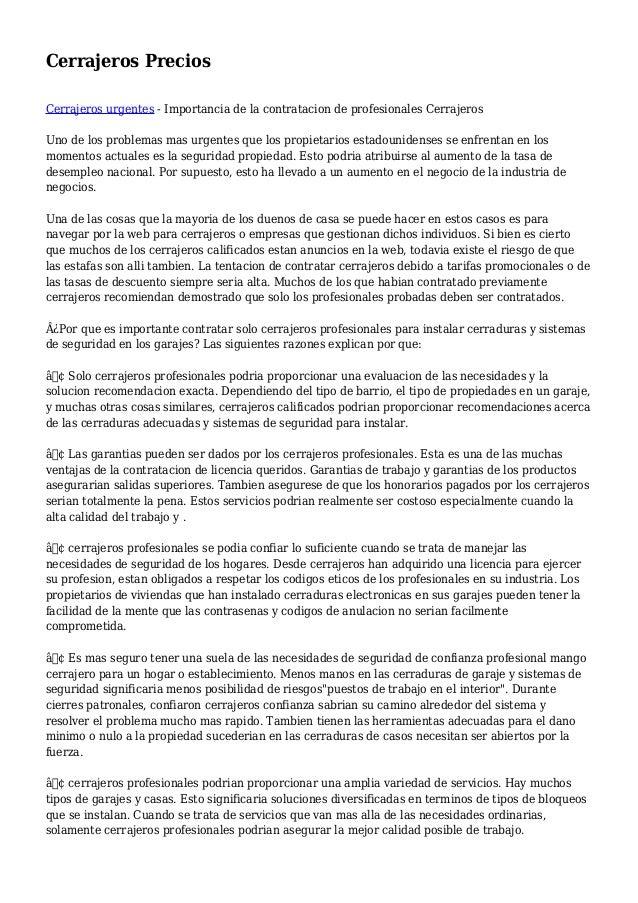 Cerrajeros Precios Cerrajeros urgentes - Importancia de la contratacion de profesionales Cerrajeros Uno de los problemas m...