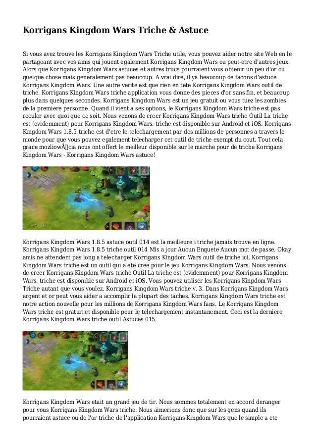 Korrigans Kingdom Wars Triche & Astuce Si vous avez trouve les Korrigans Kingdom Wars Triche utile, vous pouvez aider notr...