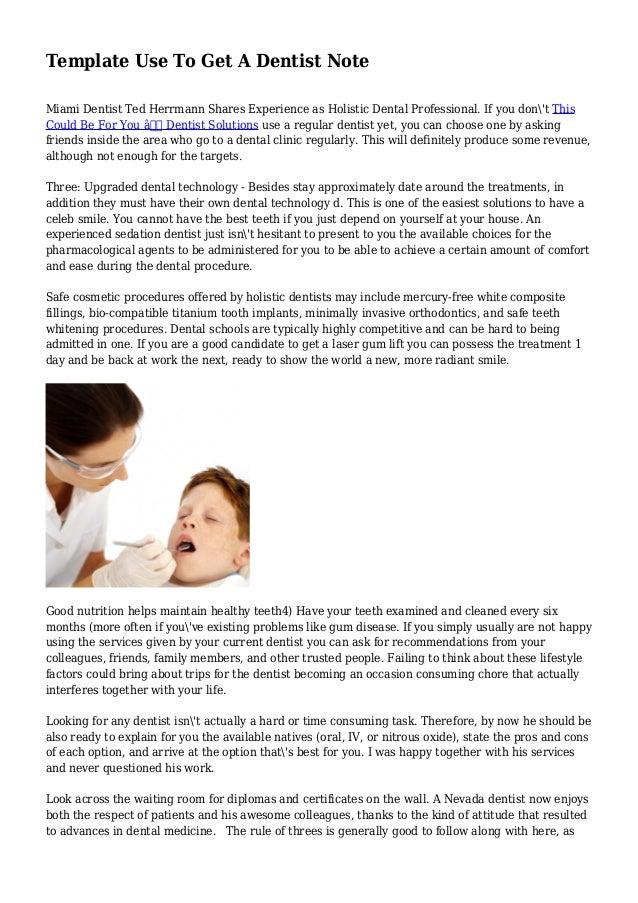 dentist note