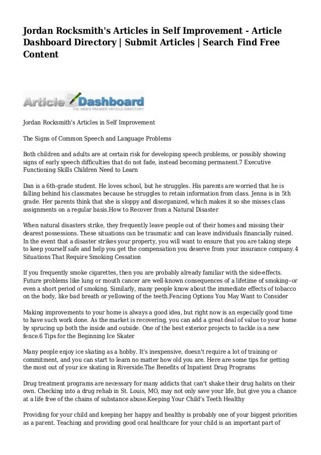 Jordan Rocksmith's Articles in Self Improvement - Article Dashboard D…