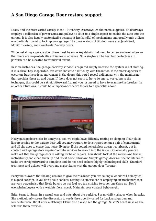 A San Diego Garage Door restore support