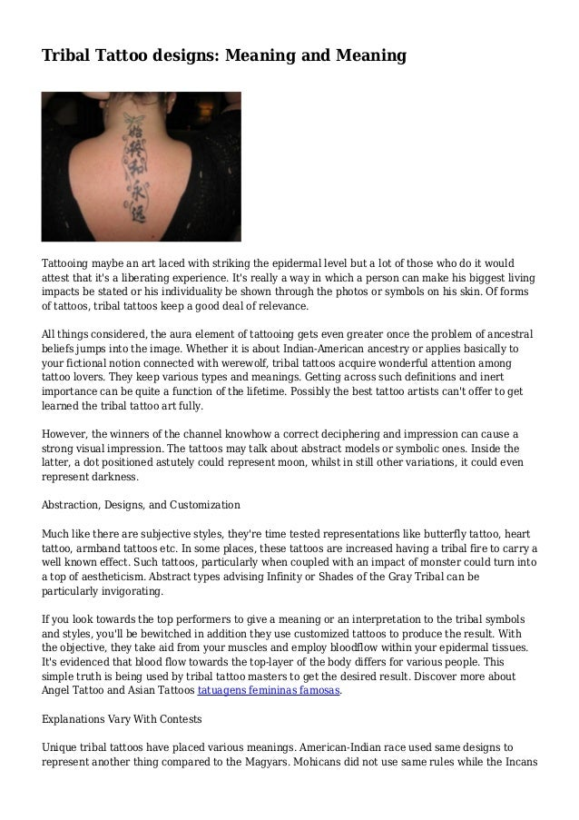 Tribal Tattoo Designs Meaning And Meaning