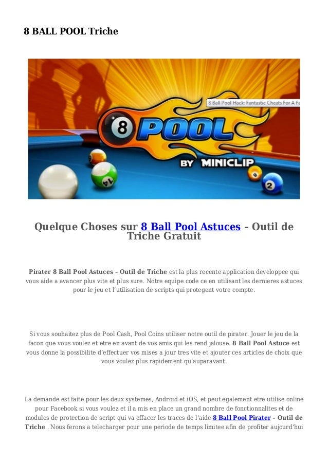 8 BALL POOL Triche Quelque Choses sur 8 Ball Pool Astuces – Outil de Triche Gratuit Pirater 8 Ball Pool Astuces – Outil de...