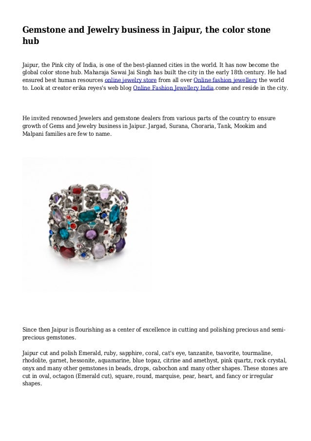 Gemstone and Jewelry business in Jaipur, the color stone hub