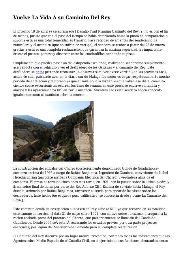 Vuelve La Vida A su Caminito Del Rey El proximo 18 de abril se celebrara elI Desafio Trail Running Caminito del Rey. Y, ...