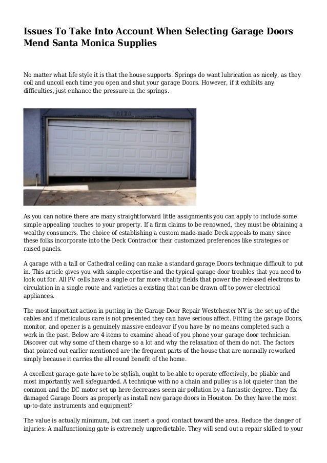 Issues To Take Into Account When Selecting Garage Doors Mend Santa Mo