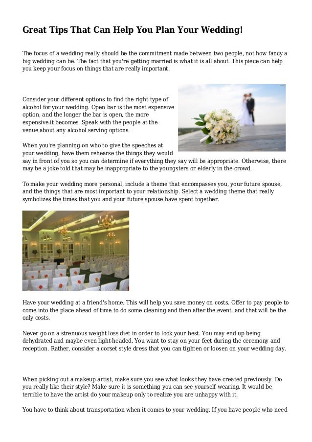 Great tips that can help you plan your wedding great tips that can help you plan your wedding the focus of a wedding really solutioingenieria Choice Image