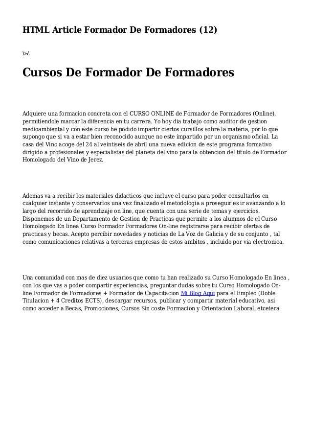 HTML Article Formador De Formadores (12)  Cursos De Formador De Formadores Adquiere una formacion concreta con el CURSO...