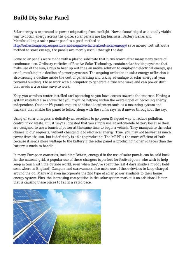 Build Diy Solar Panel