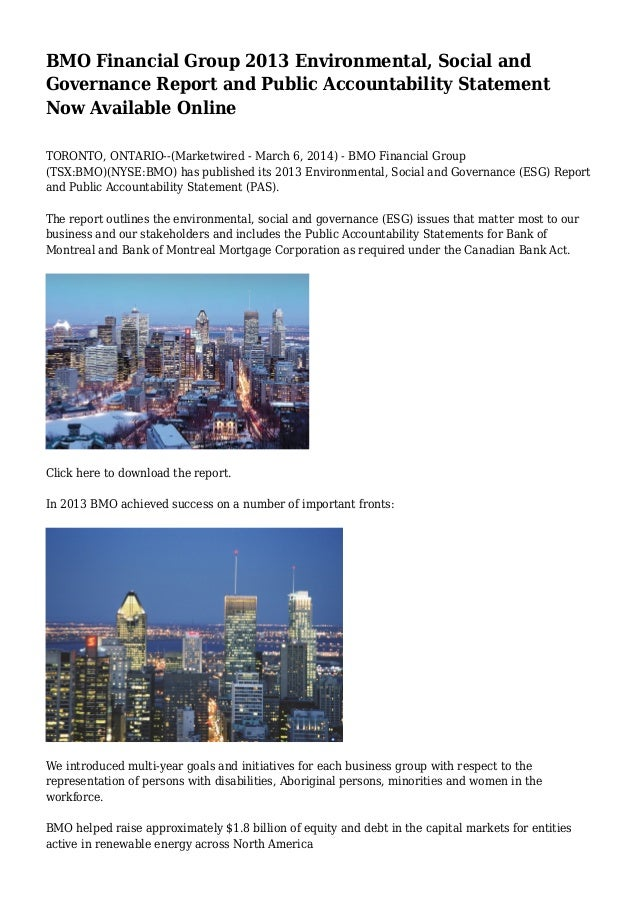 BMO Financial Group 2013 Environmental, Social and Governance Report and Public Accountability Statement Now Available Onl...