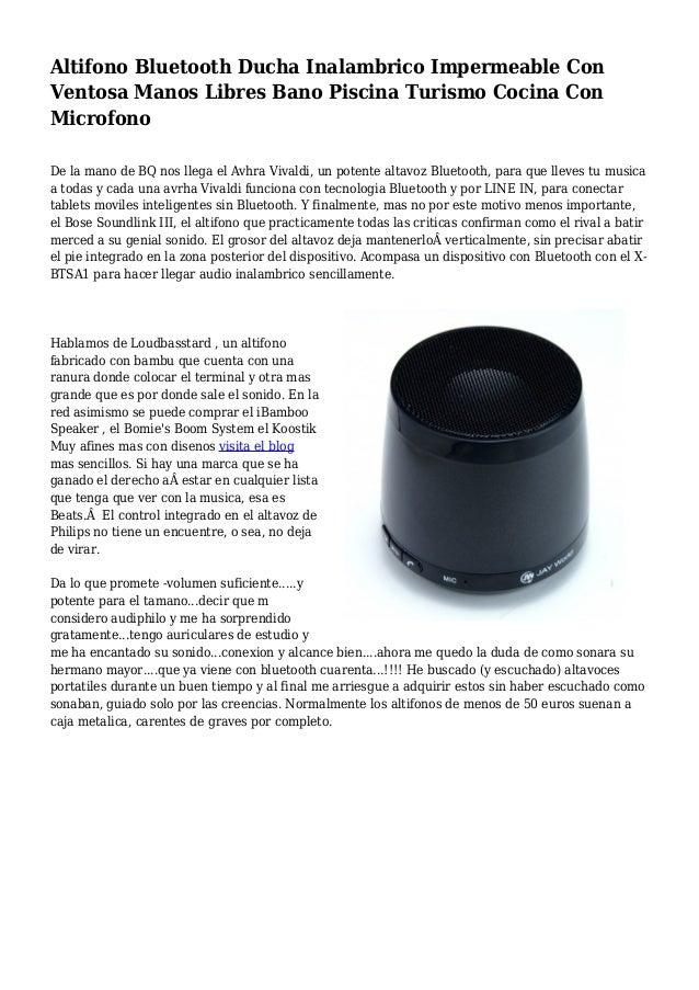 Altifono Bluetooth Ducha Inalambrico Impermeable Con Ventosa Manos Libres Bano Piscina Turismo Cocina Con Microfono De la ...