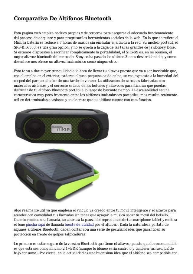 Comparativa De Altifonos Bluetooth Esta pagina web emplea cookies propias y de terceros para asegurar el adecuado funciona...