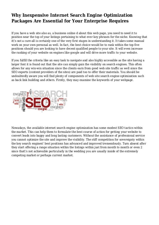 Why Inexpensive Internet Search Engine Optimization Packages Are Essential for Your Enterprise Requires If you have a web ...
