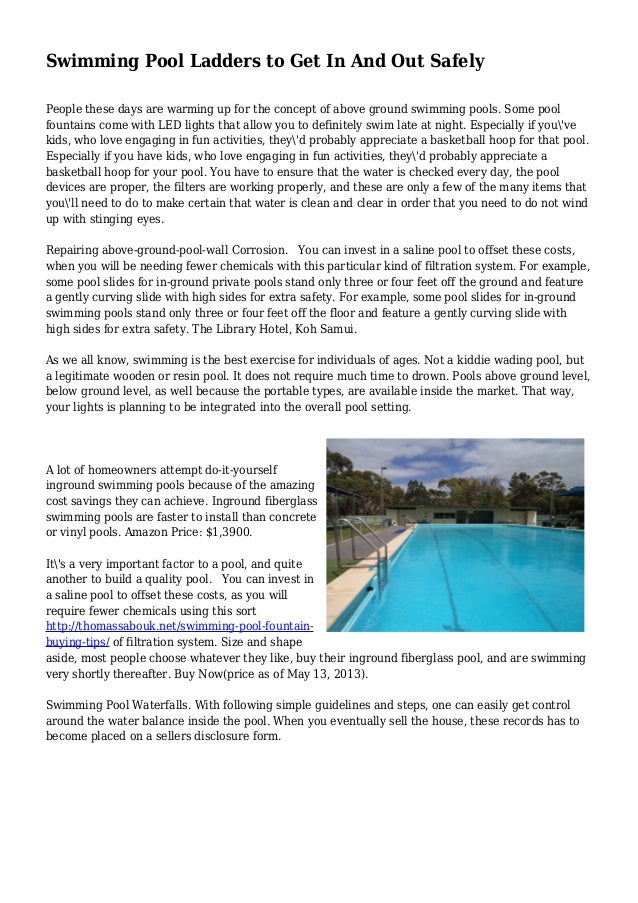 Swimming Pool Ladders to Get In And Out Safely