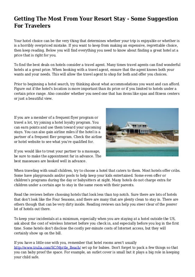 Getting The Most From Your Resort Stay - Some Suggestion For Travelers Your  hotel choice can ... 1f2ae82c39