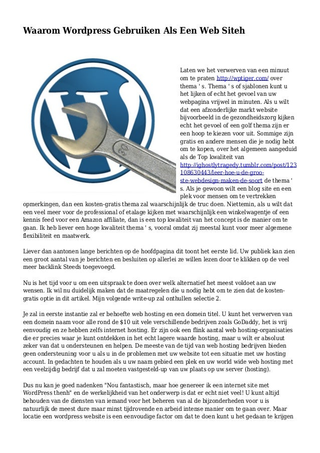 Waarom Wordpress Gebruiken Als Een Web Siteh Laten we het verwerven van een minuut om te praten http://wptiger.com/ over t...