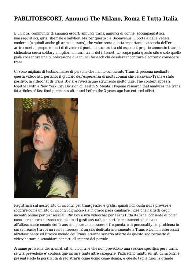 uomini in cerca di donne single annunci transessuali roma