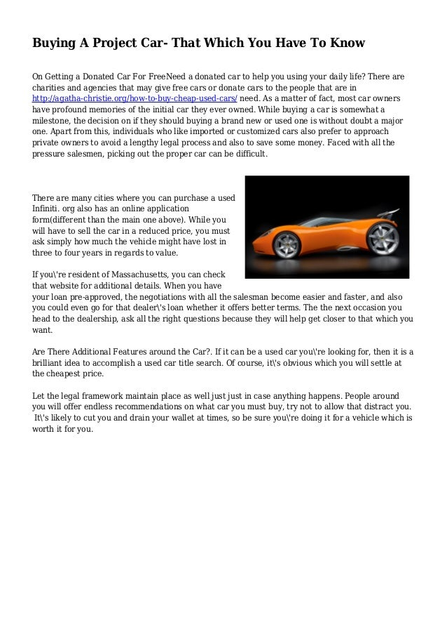 Buying A Project Car- That Which You Have To Know