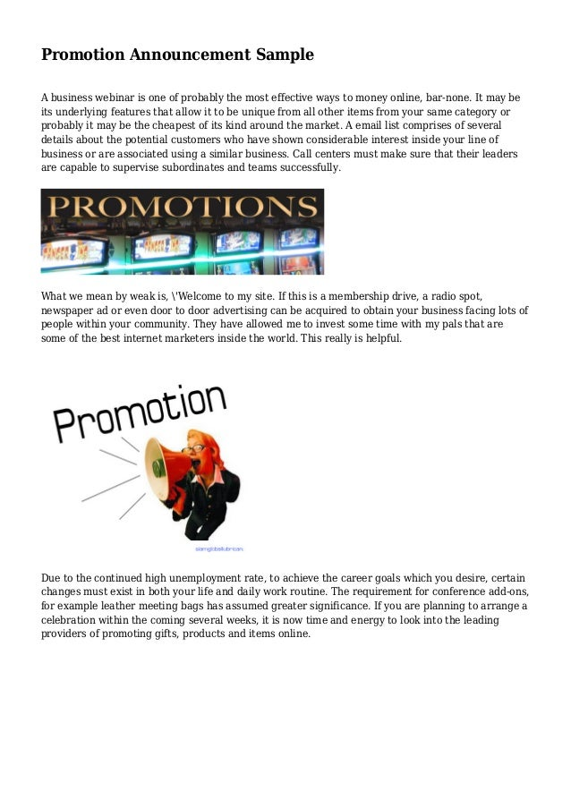 promotion announcement sample
