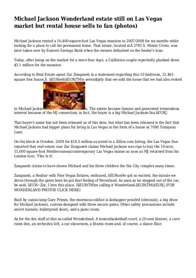 Michael Jackson Wonderland Estate Still On Las Vegas Market But Rental House Sells To Fan Photos