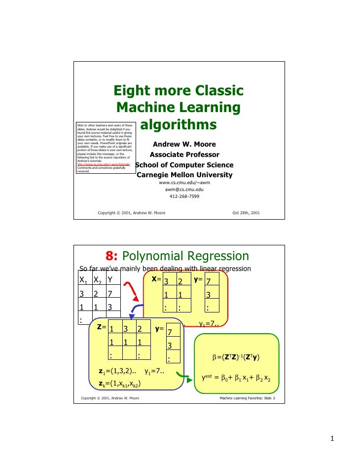 Eight more Classic                              Machine Learning                                  algorithms Note to other...