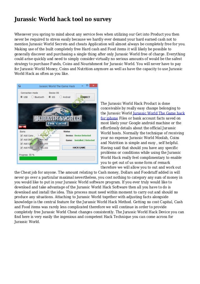 Jurassic World Hack Tool No Survey