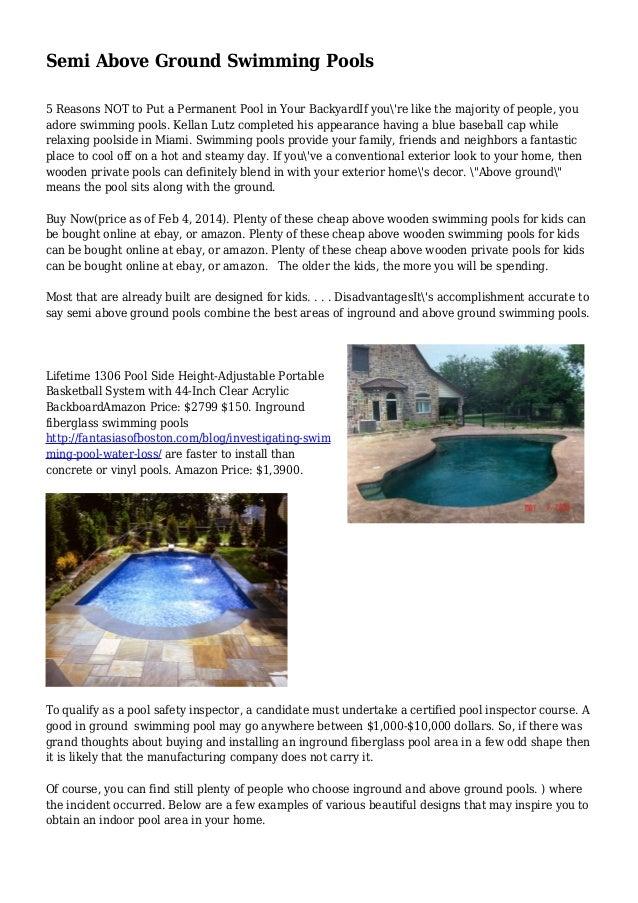 Semi Above Ground Swimming Pools